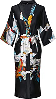 Women's Long Kimono Robe Lightweight Silk Bathrobe Nightgown with Pockets