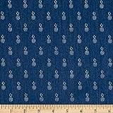 TELIO Denim Stretch Chambray Shirting Pineapple Print on, Yard, Navy Blue