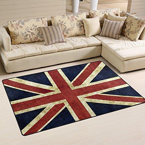 Use7 Teppich mit britischer Flagge, Vintage-Stil, rutschfest, für Wohnzimmer, Schlafzimmer, 100 x 150 cm