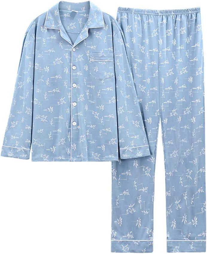 Autumn Winter Men Cotton Pajamas Set,Long-Sleeved V-Neck Button-Down Woven Young and Middle-Aged Large Size Casual Homewear Sleepwear,Light Blue,XXXL
