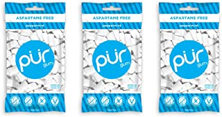 PUR 100% Xylitol Chewing Gum, Sugarless Peppermint, Aspartame Free & Sugar free, Vegan & Keto Friendly - Relieves Dry Mout...