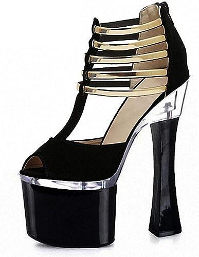 Hayaya Sandales de Mode pour Femmes, Chaussures de Femmes Nouveau Nouveau Nouveau Printemps et l'été métal décoration de Haut Talon imperméable à l'eau Plate-Forme Chaussures Femmes T-Belt,a,40 2fd