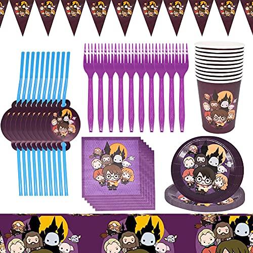 Babioms Harry Potter Party Supplies Vajilla,62pcs Suministros De Fiesta De Cumpleaños,Platos,Tazas,Servilletas,Pajillas,Tenedores,Mantel,Banners