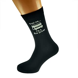 Trust me I'm a Bus Driver and Bus Image Printed on Black Mens Cotton Rich Socks