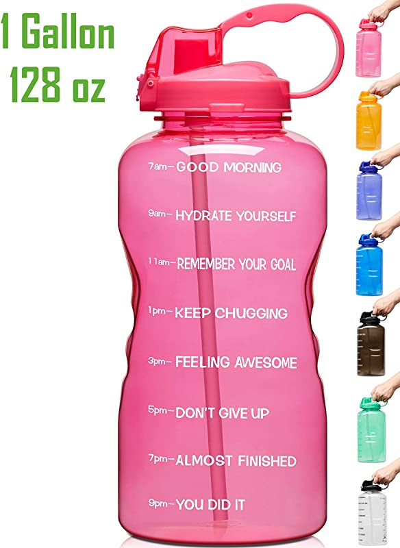 Venture Pal Large 128oz Leakproof BPA Free Fitness Sports Water Bottle With Motivational Time Marker Straw To Ensure You Drink Enough Water Throughout The Day