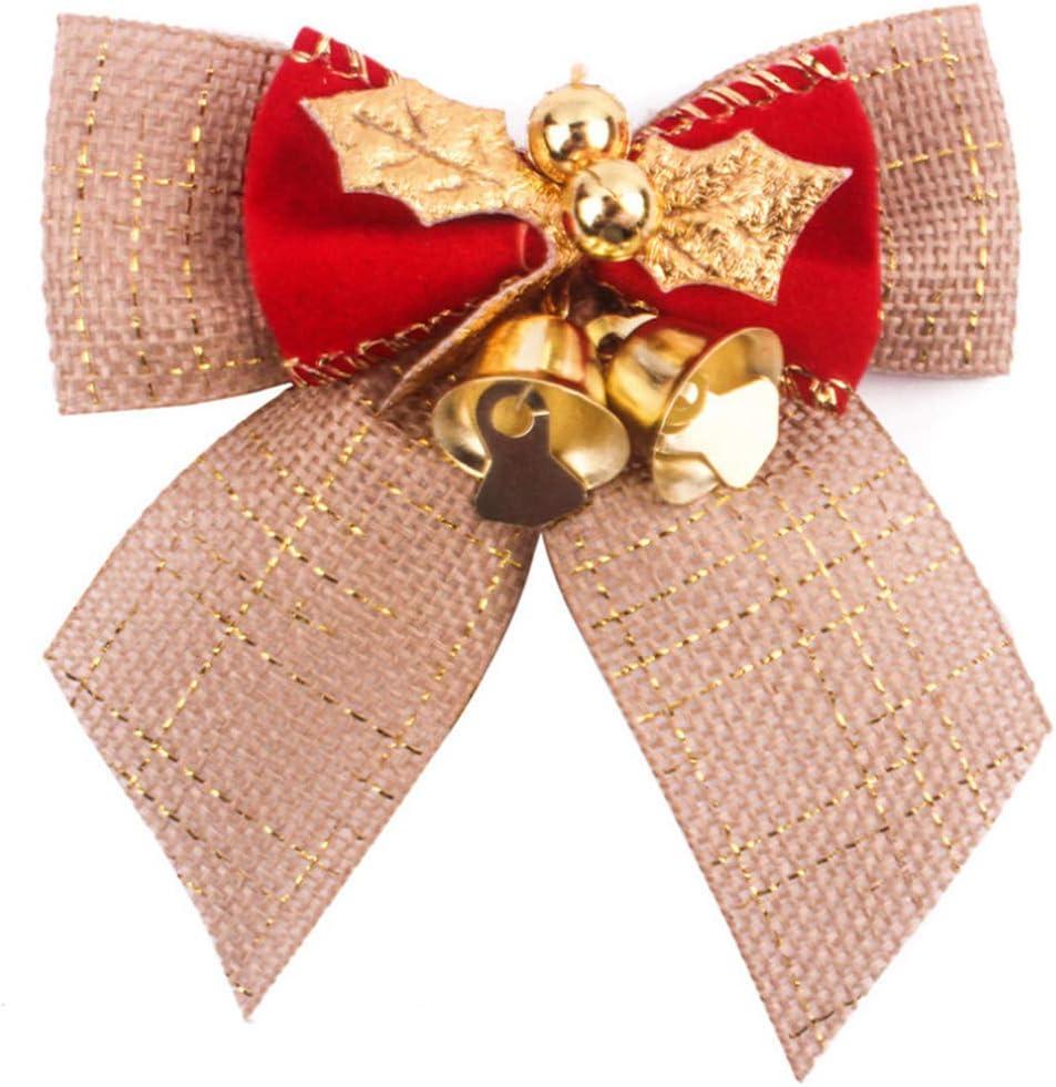 EMFGJ No/ël Ruban arcs Ornements Cadeau de No/ël Noeuds avec Cloche pour d/écoration de No/ël d/écoration de Cadeau de Mariage,Style 1