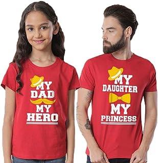 7b7ee573ba Bon Organik Cotton Red My Princess/My Hero, Matching Dad and Daughter Matching  Tees