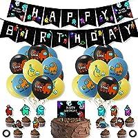 私たちの間で誕生日パーティーの装飾、誕生日バルーンバナー、ゲームをテーマにしたパーティーの装飾、ゲームファンのための大きな驚き (A)