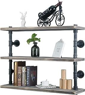 GWH Industrial Pipe Shelf Wall Mounted,3 Tier Rustic Metal Floating Shelves,Steampunk Real Wood Book Shelves,Wall Shelving Unit Bookshelf Hanging Wall Shelves,Farmhouse Kitchen Bar Shelving(36in)
