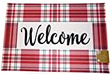 Jaclyn Smith Collection Welcome Plaid Doormat Nonskid Neoprene Backing Polyester Front 18 x 27 inches Indoor/Outdoor