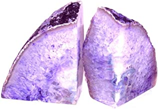 Zentron Crystal Collection: Large Pair of Polished Purple Agate Bookends (2-6 Pounds)