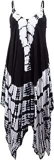 Raviya Women's Tie-Dyed Handkerchief-Hem Maxi Dress Cover-Up (M, Black)