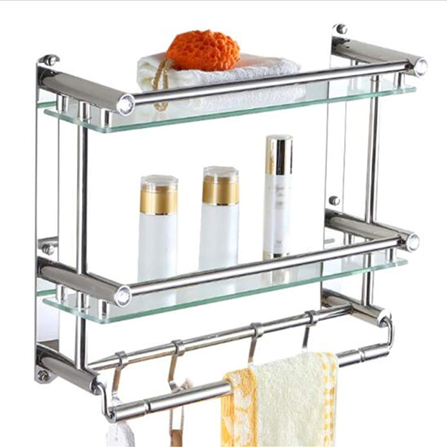 ZHANWEI Bathroom Shelf Shower Organiser Wall-Mounted Tempered Glass Tower Hanger Hook Up Stainless Steel Toilet 1 2 3 Tiers (color   Layer 2, Size   58CM)