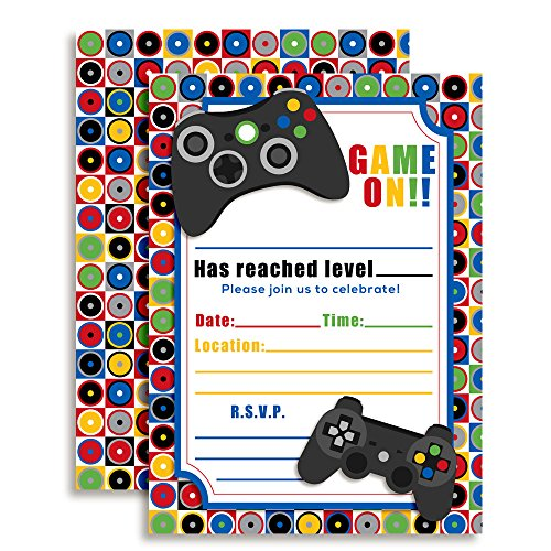 """Game On! Video Gamer Birthday Party Fill In Invitations, 20 5""""x7"""" Fill In Cards with Twenty White Envelopes by AmandaCreation"""