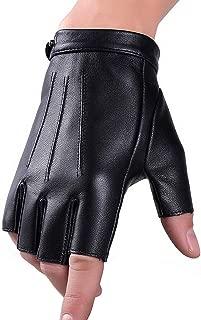 Fingerless Driving Gloves PU Faux Leather Outdoor Sport Half Finger Glove for Men Women Teens
