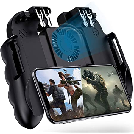 "4 Trigger Mobile Game Controller with Cooling Fan for PUBG/Call of Duty/Fortnite [6 Finger Operation] YOBWIN L1R1 L2R2 Gaming Grip Gamepad Mobile Controller Trigger for 4.7-6.5"" iOS Android Phone"