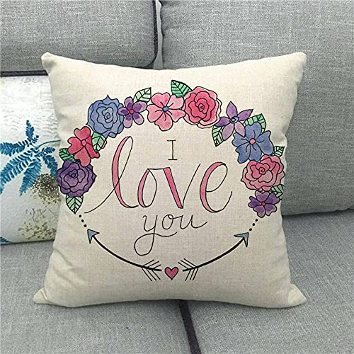 Dafang Red Love Mood Love día de San Valentín Funda de Almohada de Lino Abrazo Almohada Abrazo Funda de Almohada s Suministro 1498-13_45 * 45cm