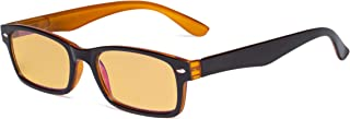 Eyekepper Blue Light Blocking Computer Glasses with Amber Tinted Filter Lens Women Men - Vintage Eyeglasses - Black Yellow