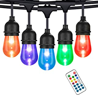 48ft Warmwhite Outdoor String Lights, 15 S14 LED RGB Bulbs (3 Replacements), Waterproof, Indoor-Outdoor Globe String Light...