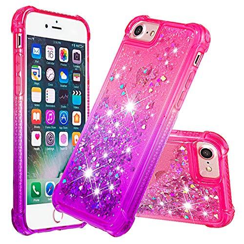 Dclbo - Carcasa para iPhone 6/6S/7/8, con purpurina líquida, Rosa, morado