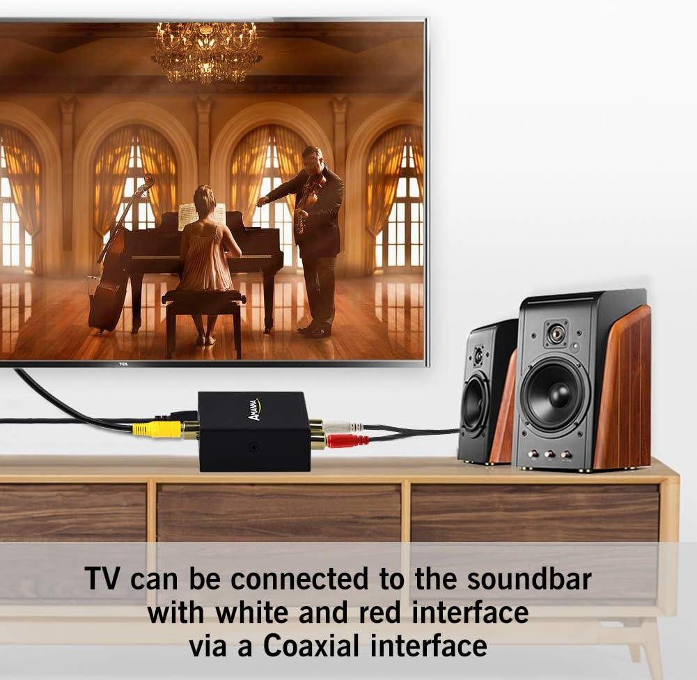 AMANKA Convertisseur Audio Num/érique Optique Coaxial//Analogique RCA L//R et Prise 3,5 mm Sortie Casque St/ér/éo Jack Casque pour PS3 PS4 Xbox Blue Ray Sky HD TV