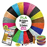 3D Pen /Printer Filament Refills [28 Colors, 1.75mm, 20ft Each Color Total 560 Feet] - Premium PLA 3D Filament Different Colors, Including 3 Colors Glow in The Dark and Stencils eBook by So Nice