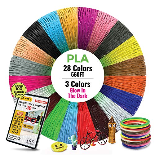 3D Pen/Printer Filament Refills [28 Colors, 1.75mm, 20ft Each Color Total 560 Feet] - Premium PLA 3D Filament Different Colors, Including 3 Colors Glow in The Dark and Stencils eBook by So Nice