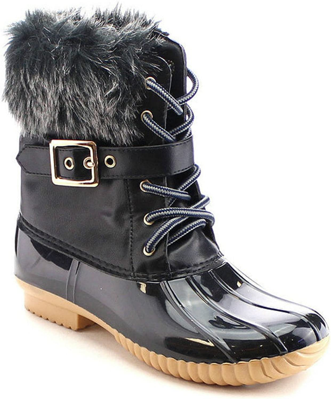 Nature Breeze Duck-01 Ankle Rain Boots Lace up Fur Cuff Flat Women's shoes
