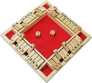 シャットザボックス おもしろ 数字 ボードゲーム 2人-4人プレイ 木製 おもちゃ 盛り上がる (レッド)