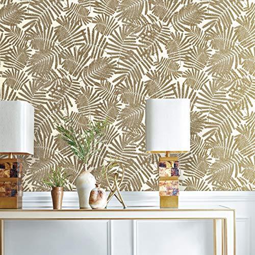 jidan Modernes Metallic Gold Weiß Blatt Papiertapete for Wand-Roll-amerikanischen Wall Paper Schlafzimmer Wohnzimmer Hintergrund Home Decor (Dimensions : 10mx53cm)