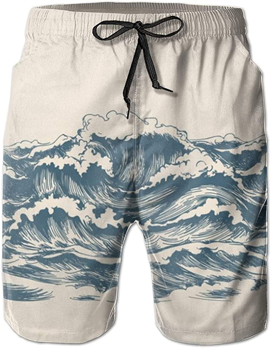 Sea Waves Men's Quick Dry Swim Trunks with Pockets Beach Board Shorts Bathing Suits