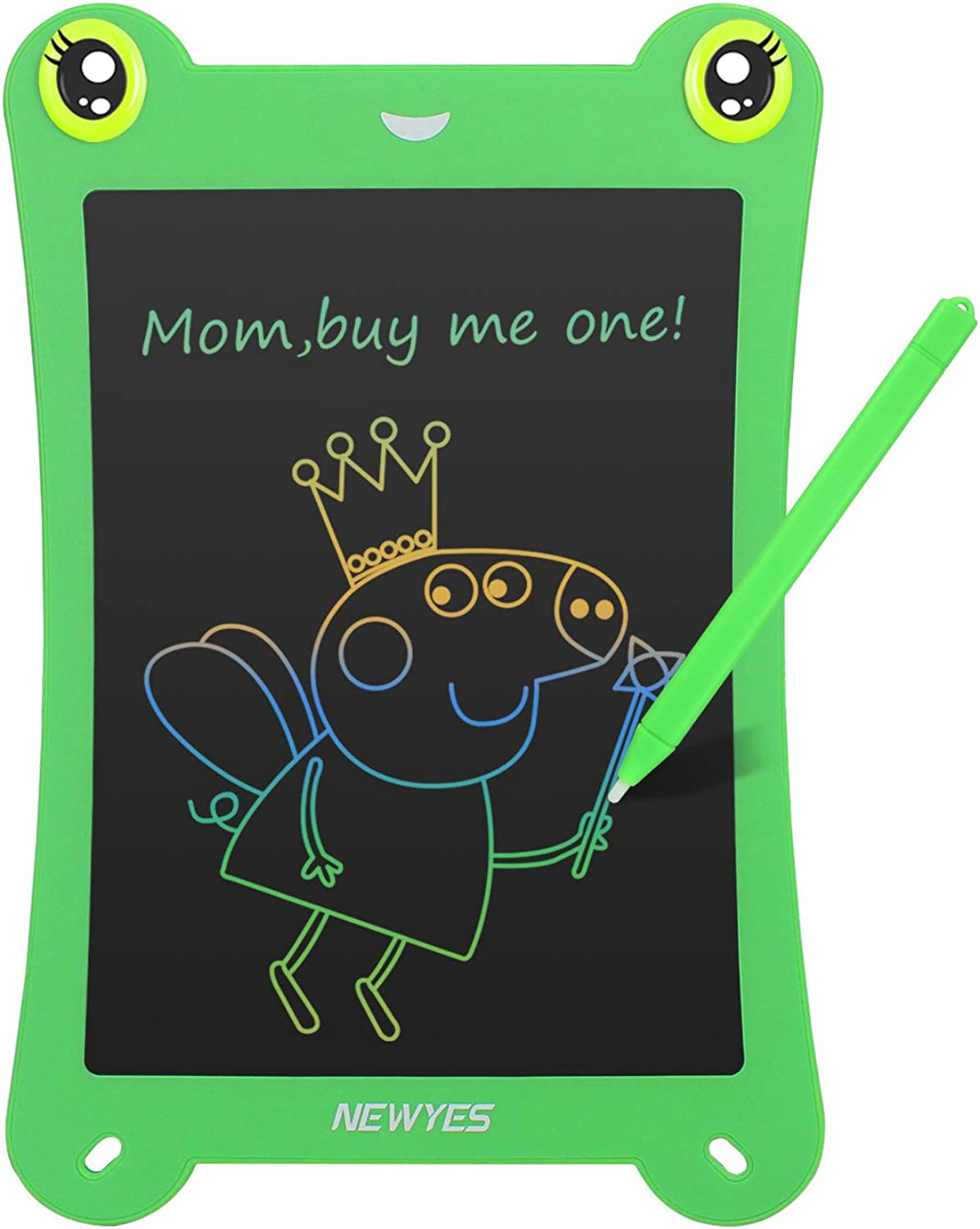 NEWYES 8.5 Inch colorful Frogpad Doodle Pad Drawing Board LCD Writing Tablet for Kids and Adults (Green)