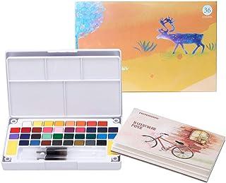 Sweetone Set de Peinture Aquarelle, Comprenant 36 Couleurs Boîte d'Aquarelle + 2 stylos à Ligne de Crochet + 2 pinceaux de...