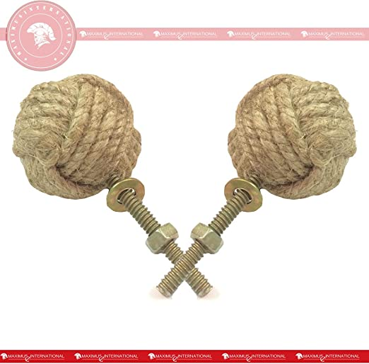 47 mm Jute Rope Door Knobs//Rope Knot Drawer Pulls and Knobs//Pull and Push Handle Knobs for Cabinets Wardrobes /& Cupboards//Nautical Hardware Decor Set of 4