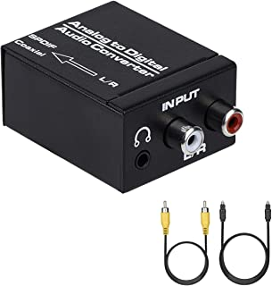 Analog to Digital Audio Converter, R/L RCA 3.5mm AUX to Digital Coaxial Toslink Optical Audio Adapter with Optical Cable, Coaxial Cable