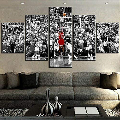 13Tdfc Stampe E Quadri su Tela 5 Pezzi Tela Wall Art Ali di Michael Jordan NBA Chicago Bulls Star del Basket Murale Quadri Moderni Soggiorno XXL Casa Corridoio Decor Regalo Creativo