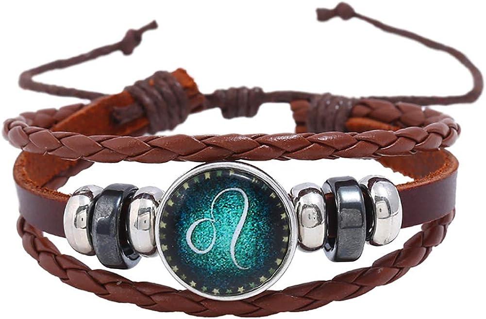 Fashion Bangle Bracelet for Women Girls,Retro Unisex 12 Constellations Braided Rope Multilayer Bracelet Gift - Leo