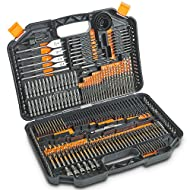 COMPLETE SET - Comprehensive, high quality 246pc drill bit set – made for masonry, wood, metal and plastic drilling as well as multiple screwdriving and fastening applications VARIETY - Full set includes 87 X HSS twist drills, 22 X wood drill bits, 2...