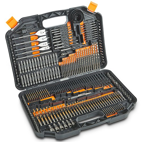 VonHaus Combination Drill Bit Set, Includes HSS Titanium Twist Drill bits, Masonry Drill Bits, Wood Drill Bits, Screwdriver Bits & More in Storage case - for Metal, Masonry, Wood & Plastics