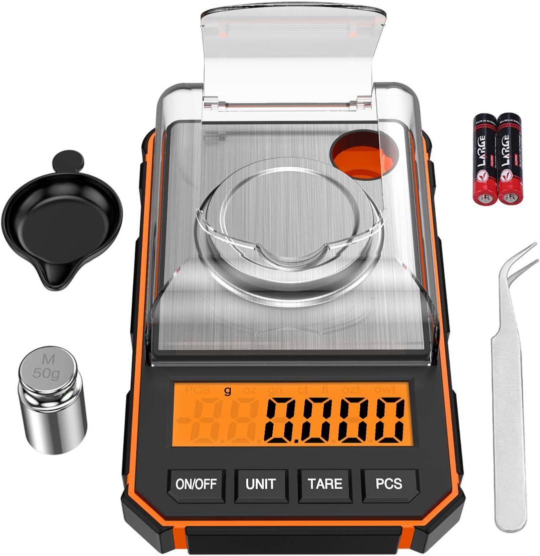 ORIA Báscula Digitales de Precisión, 50g/0.001g Báscula de Bolsillo con Peso de Calibración de 50g y Pinzas Electrostáticas, Báscula de Cocina con Tara y Pantalla LCD Retroiluminada - Naranja