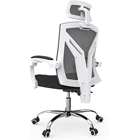 Hbada Sedia da Ufficio Sedia da scrivania ergonomica Sedia Girevole Sedia in Rete Sedia da Lavoro Poltrona con Funzione Rocker Nero