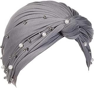 CapsA Pearl Beading India Hat Women Ruffle Chemo Turban Headband Scarf Beanie Cap Hat for Cancer Patient
