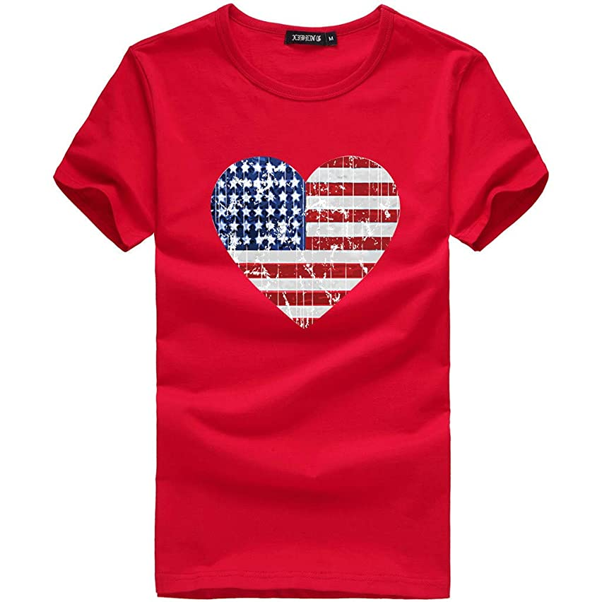 American Heart Flag USA Patriotic 4th of July Women's Fitted Round Neck T-Shirt Short Sleeve Tops Tee Shirts