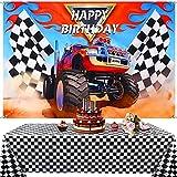 Suministros de Fiesta Camión Monstruo Incluye 1 Telón de Fondo de Camión Monstruo 1 Mantel de Bandera a Cuadros de Plástico, Fondo de Sepulturero de Happy Birthday Cubierta de Mesa de Picnic