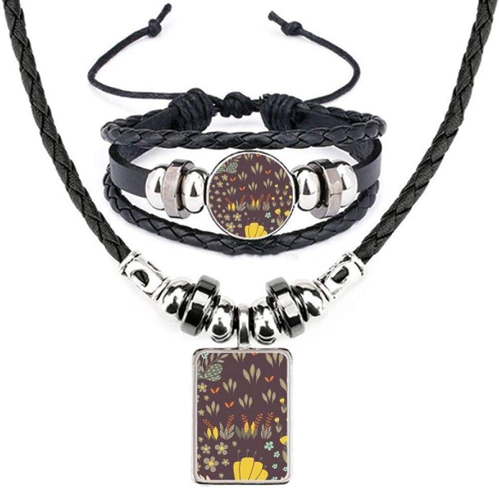 Mung Bean Flower Plant Paint Leather Necklace Bracelet Jewelry Set