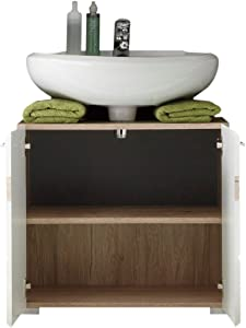 Trendteam 133630196 Set One - Mueble para debajo de lavabo, roble San Remo claro, parte frontal en blanco brillante