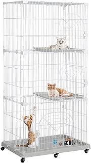 Topeakmart Rolling Large Cat Kitten Cage