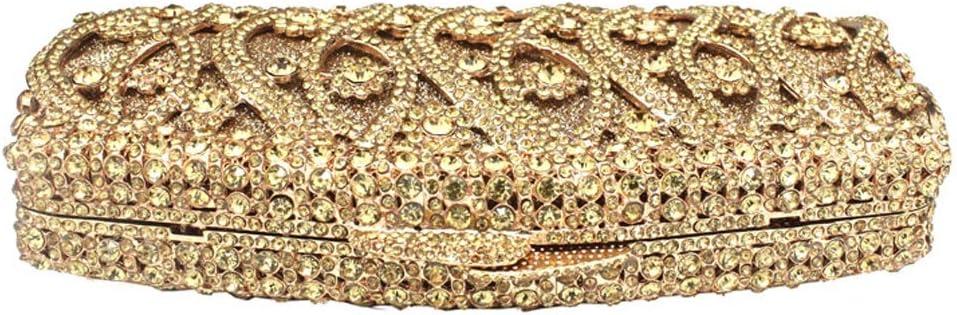 HQQ Diamant Dîner Sac Banquet Bag Robe De Mariée Clutch Pochette (Color : Gold) Gold