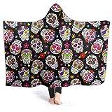 JASMODER Sugar Skull Hoodie Blanket Wearable Throw Blankets for Couch Blanket Hooded for Baby Kids Men Women