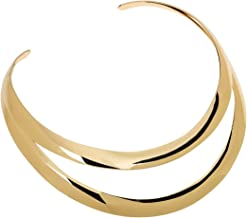 Jerollin Gold/Silver Choker Collar Necklaces for Women, Stainless Steel Gold Statement Necklace Open Choker Bib Necklace African Jewelry Necklace